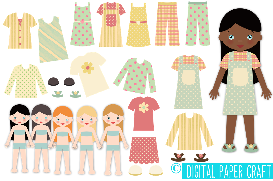 Paper Doll, Digital Paper doll, Cut out doll, Printable doll.