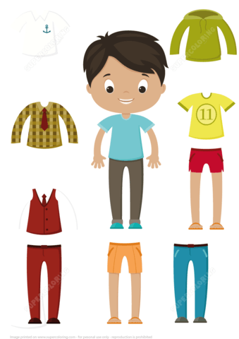 Cut Out Boy Paper Doll Clothes Set.