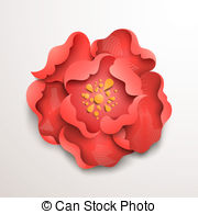 Clipart Vector of Five abstract paper flowers. FLoral background.
