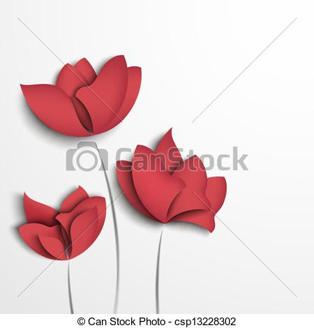 Vector Clipart of Pink paper flowers on white background.