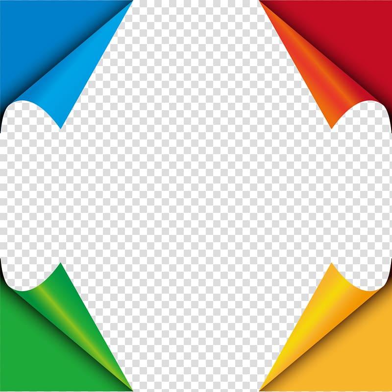 Multicolored border illustration, Paper Origami, Hand.