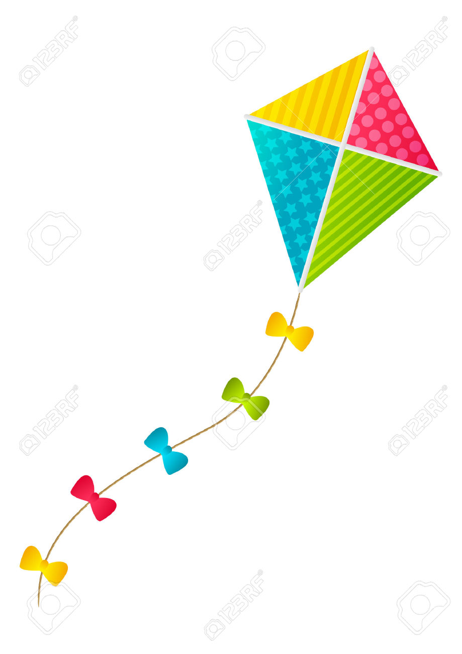 Color Paper Kite On White Background Royalty Free Cliparts.
