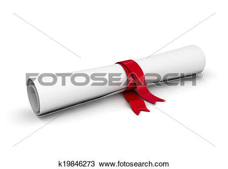 Drawing of roll of paper like diploma with gol k19846273.