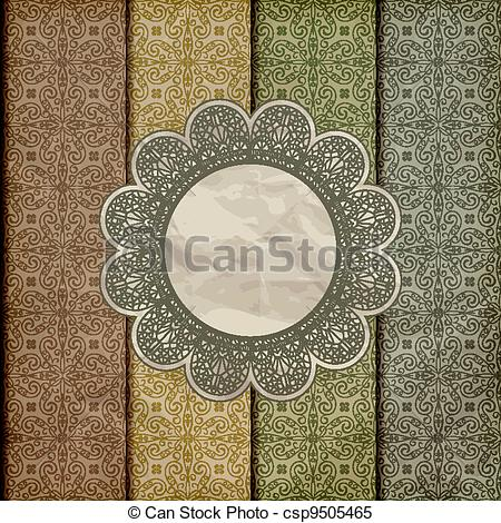 Clipart Vector of vector seamless floral borders on crumpled.