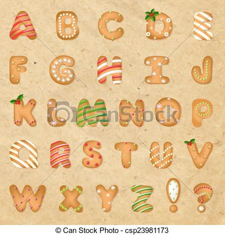 Vectors Illustration of Xmas Gingerbread Cookie Alphabet With.