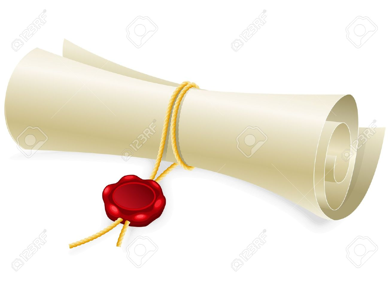 Scroll Paper With Seal Of Sealing Wax Made Without Gradient Mesh.