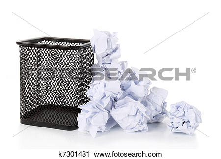 Stock Photography of Full wire mesh trash can with crumpled paper.