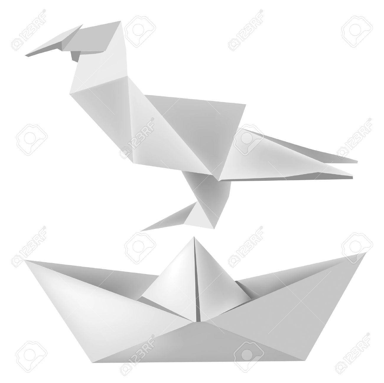 Illustration Of Folded Paper Model Bird And Boat Royalty Free.