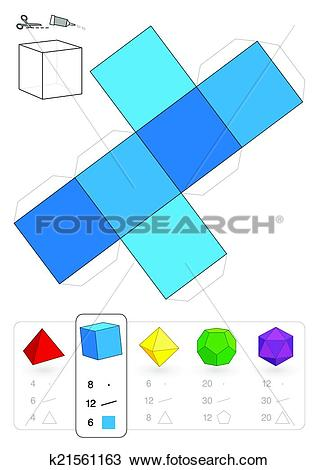 Clipart of Paper Model Hexahedron k21561163.