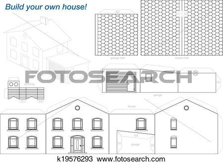 Clipart of Paper Model House Outline k19576293.