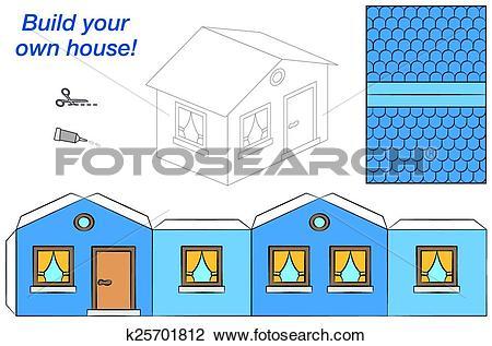 Clipart of House Paper Model Blue k25701812.