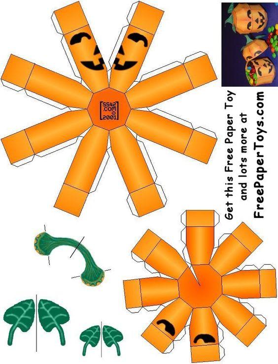 FREE Paper Model Halloween Pumpkin.