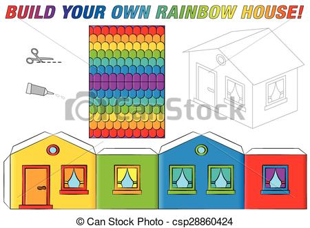 Vector Illustration of Paper Model House Template Rainbow.