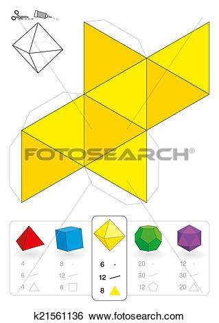 Clip Art of Paper Model Octahedron k21561136.