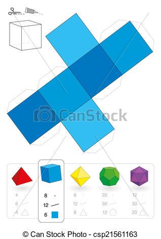 Clip Art Vector of Paper Model Hexahedron.