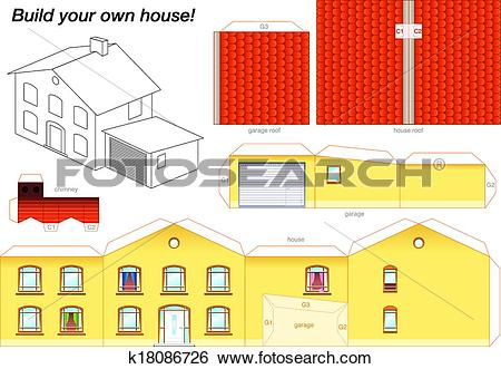 Clip Art of Paper Model House Yellow k18086726.