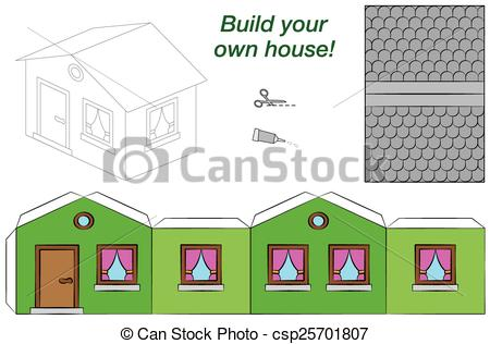 Vector Clipart of Paper Model House Template Green.