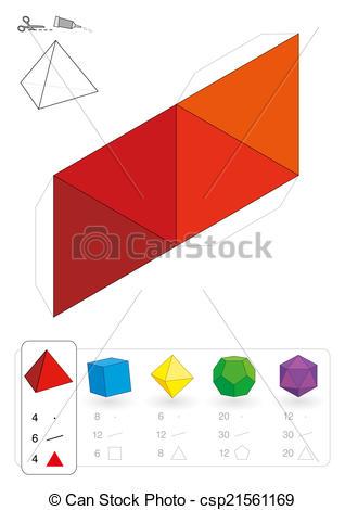 Clip Art Vector of Paper Model Tetrahedron.