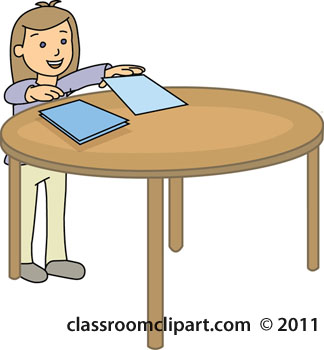 Table With Piece Of Paper On It Clipart.