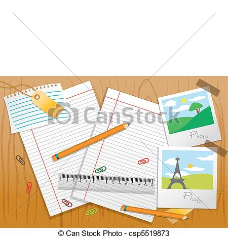 Vectors of photo with stationary and paper on table.