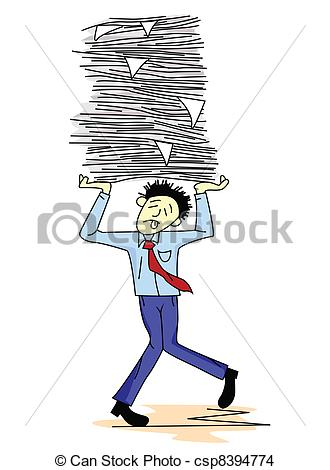 EPS Vector of Tired man carrying paper work csp8394774.