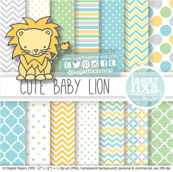 Lion Baby Shower Digital Paper patterns clip art I'ts a Boy soft.