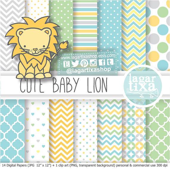 Lion Baby Shower Digital Paper patterns clip art I'ts a Boy soft.