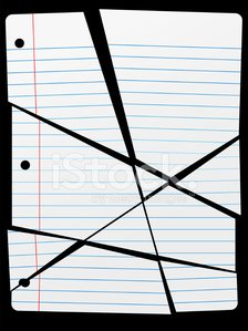 Cut Torn Up Ruled Notebook Paper Pieces Clipart Image.
