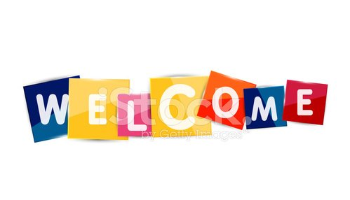 Welcome word on color square paper pieces Clipart Image.