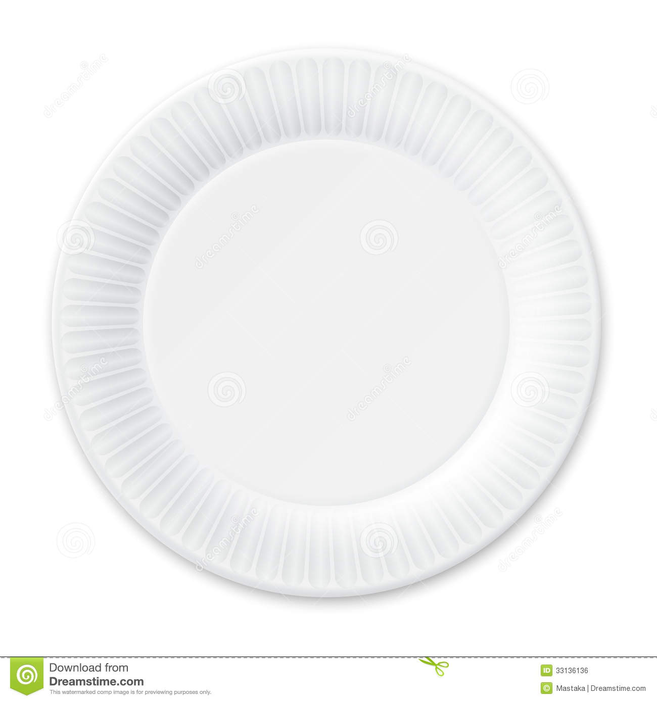 Disposable Paper Plate. Isolated On White. Royalty Free Stock.