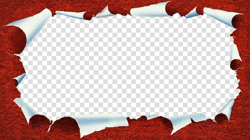 Red frame illustration, Paper Icon, Tear effect transparent.