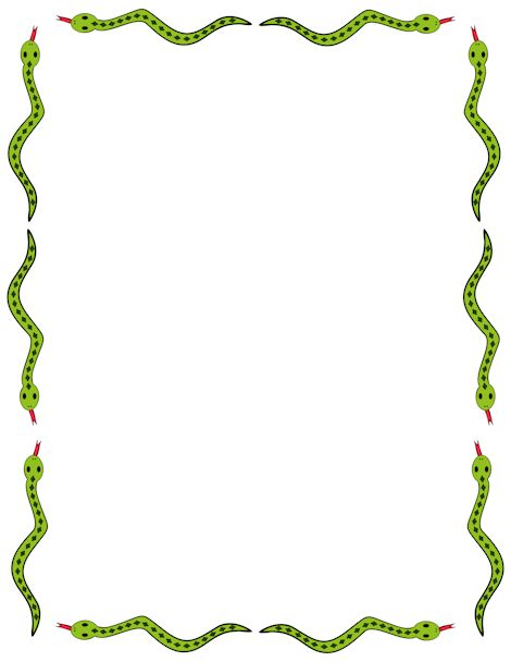 Cute snake border clip art. Free downloads at http://pageborders.