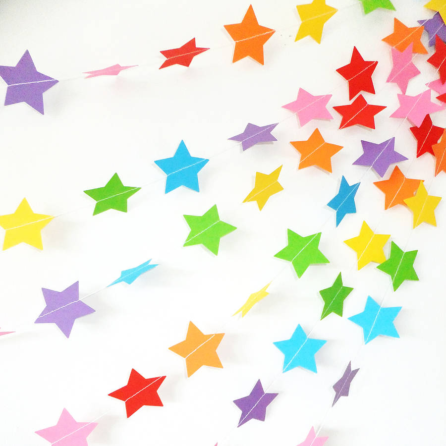 rainbow star paper garland by funky frills uk.