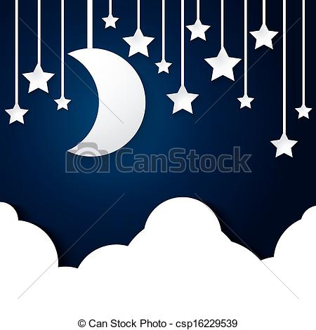Vectors of moon star and cloud paper vector on dark blue.