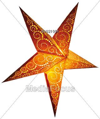 Stock Photo Illuminated Paper Star Clipart.