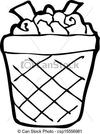 Vector of cartoon waste paper basket csp15556981.