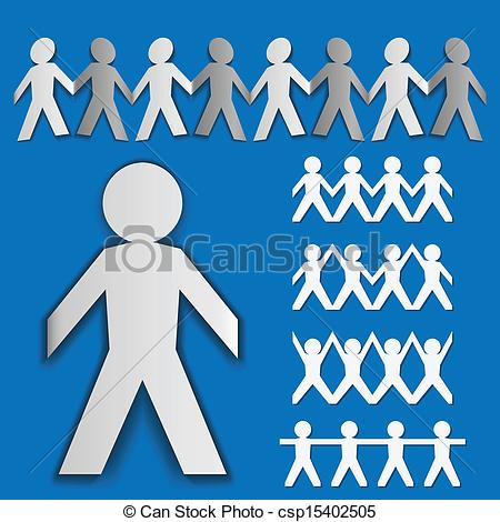 Vector Clipart of Folded paper man set in different positions on.