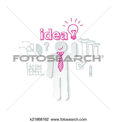 Clipart of Paper man, light and word idea on the background of.