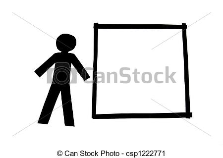 Clipart of Paperman with display isolated on white background.