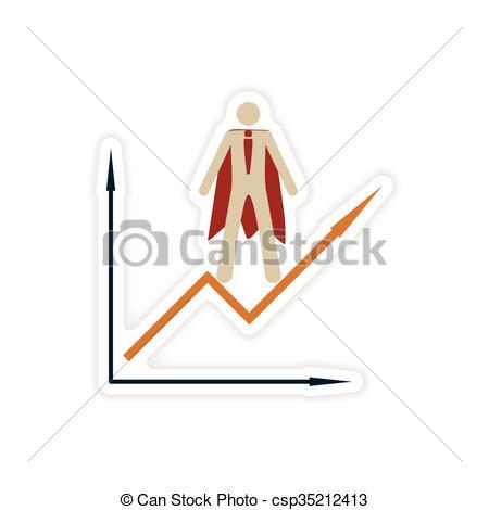 Vector Clip Art of stylish sticker on paper man economic schedule.