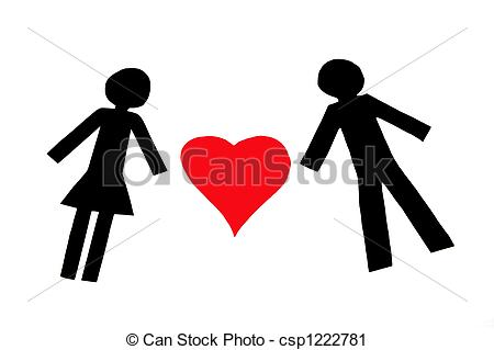 Clipart of Paperman in love.