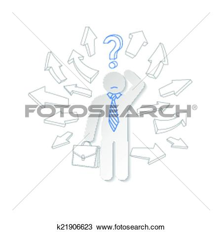 Clipart of Paper man, arrow and question mark. Business concept.