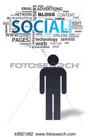 Clip Art of Paper Man with social media Bubble k6921562.
