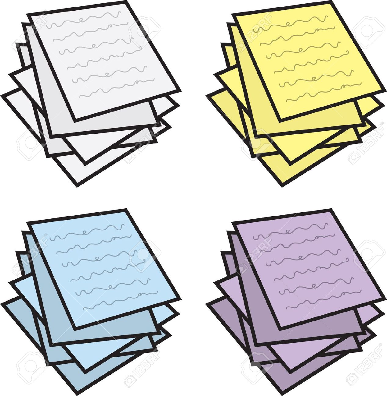 Stack of papers clip art.