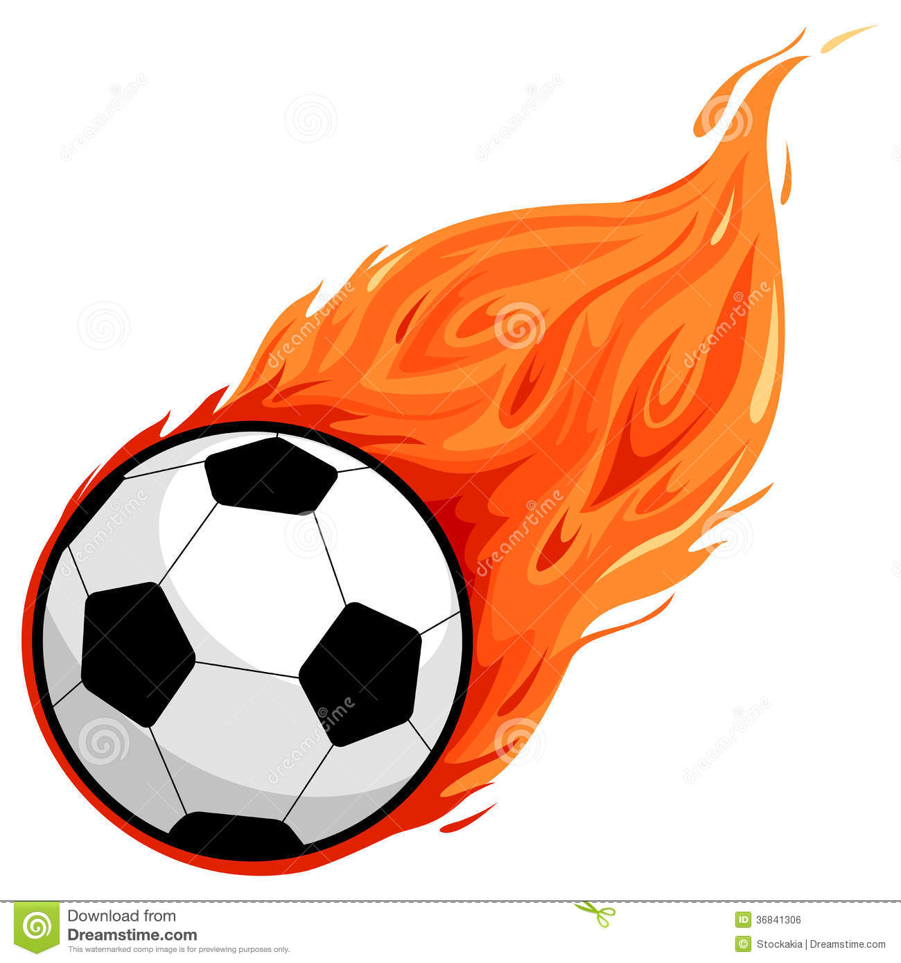 Clipart Soccer Ball With Flames.