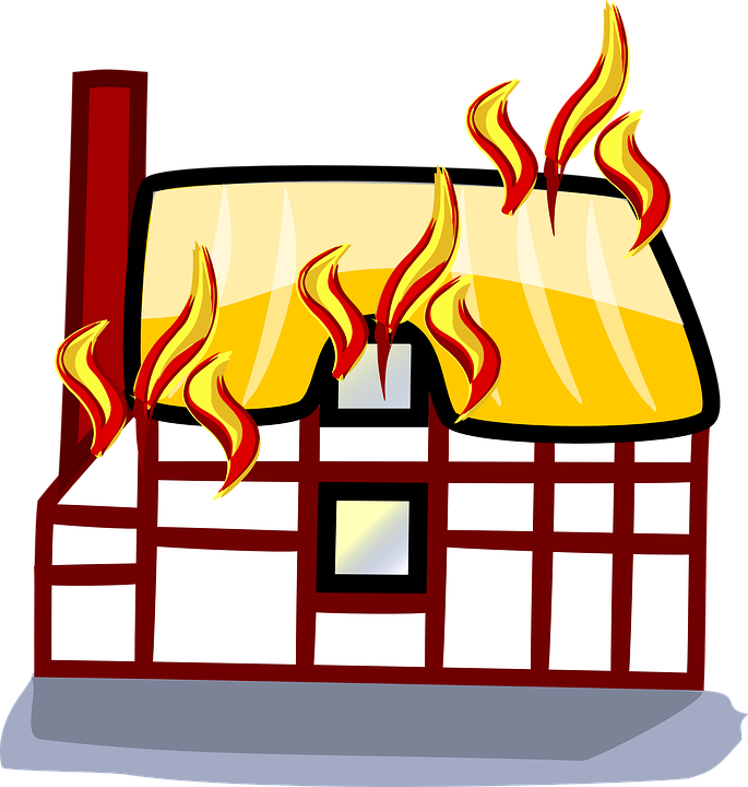 Free vector graphic: Fire, Building, House, Home.