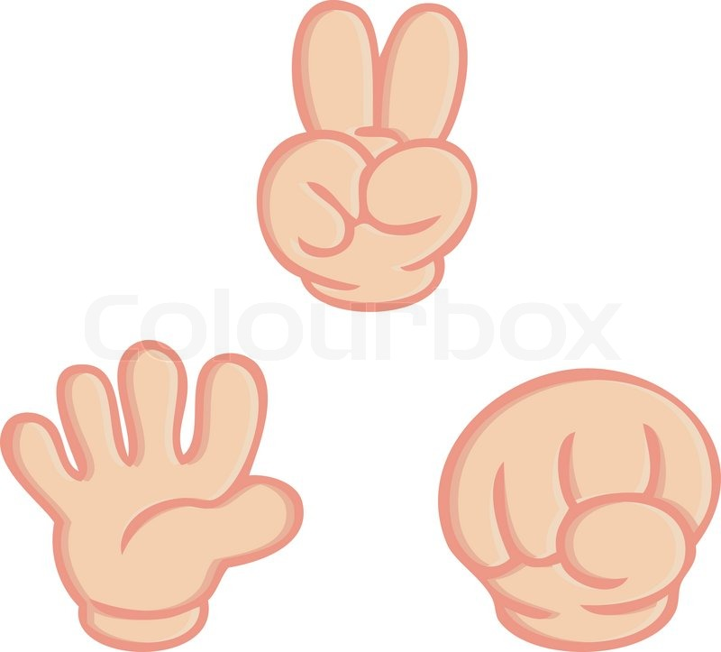 Hand sign of rock paper scissors game isolated vector on white.