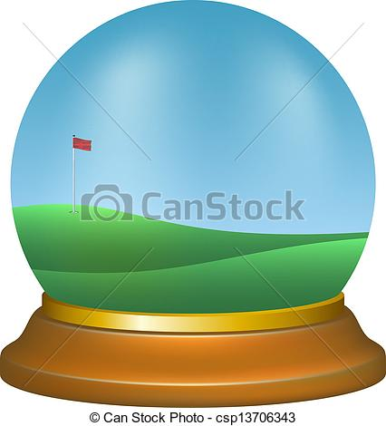 EPS Vector of Paper weight with golf scenery on white background.