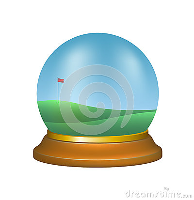 Paper Weight With Golf Scenery Stock Photo.