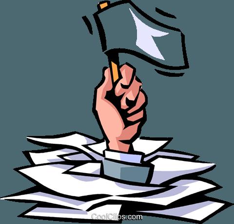 Doing Paperwork Royalty Free Vector Clip Art illustration.